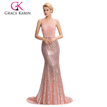 Grace Karin Floor-Length Backless Pink Sequins evening dress 2017 abendkleid GK000041-1