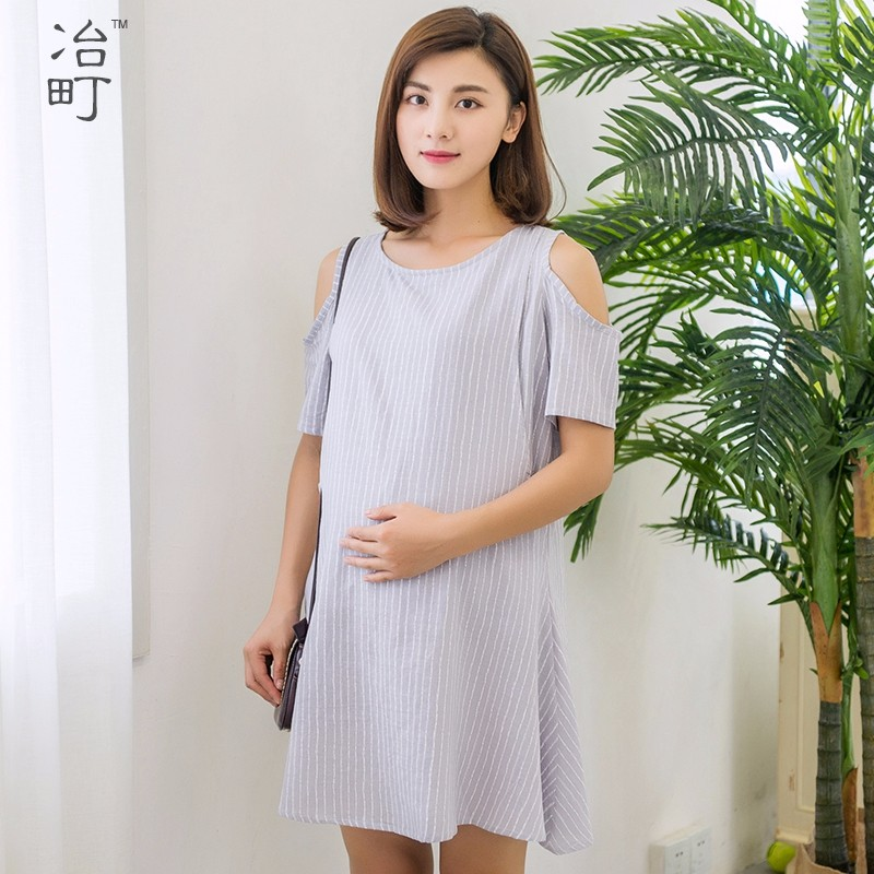 Online shopping sex cotton ladies maternity off shoulder stripes tee dresses