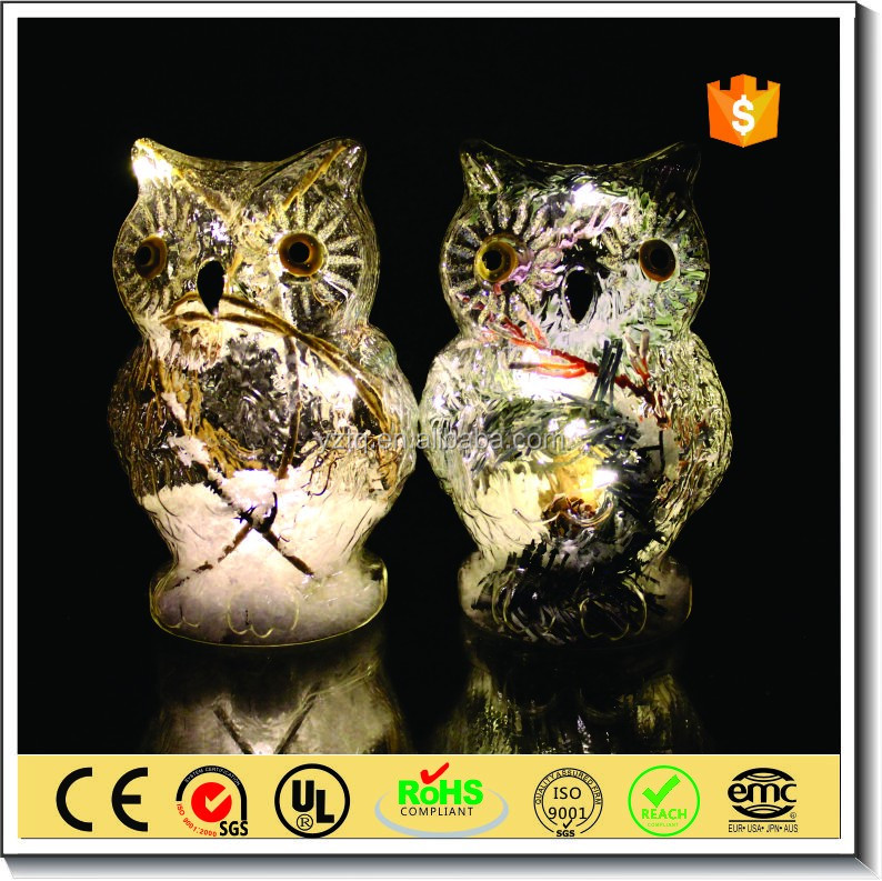 christmas decoration glass owl with led light and rattan inside