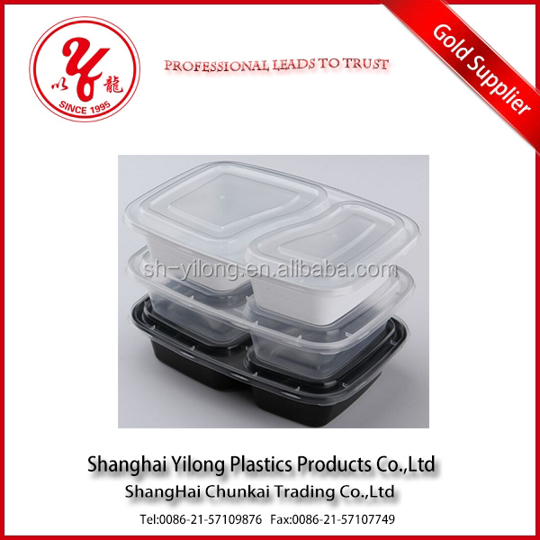 Newly FDA grade 3 compartment Microwavable plastic food container
