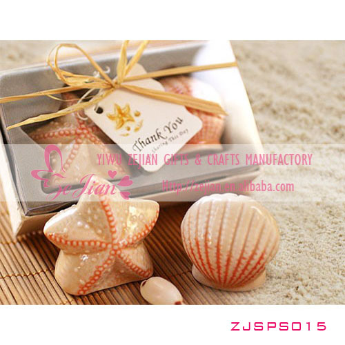 Natural Ceramic Shell & Starfish Salt Pepper Shaker Favors For Beach Theme Wedding Decorations Favor Return Gift