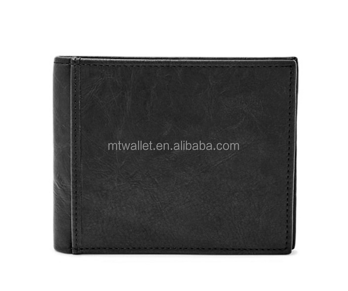 Mens Large Coin Pocket Bilfold Wallet / Genuine Leather Fold Wallet With ID Card Window