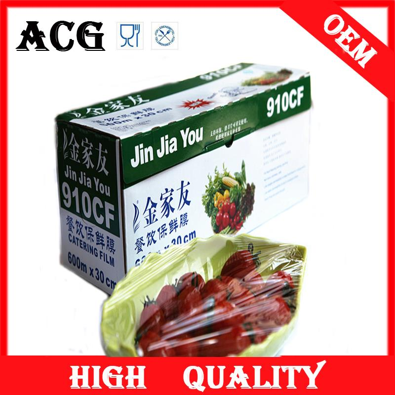 transparent and soft food grade plastic wrap with OEM box