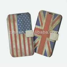 UK and USA/American Flag Leather Phone case for Samsung N9006 Galaxy note 3 Stand leather cases