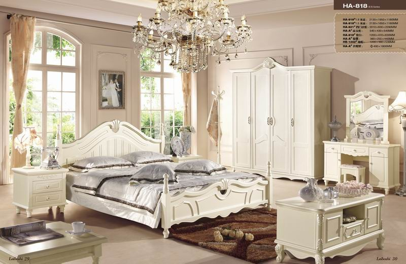 JHY818 Antique French leather headboard bed/ Korean style white wooden bedroom furniture/Alibaba Italian hand carving bedrre set