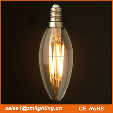360 degree 2500-6500 kevin 2w 4w 6w E12/E14/E27 base C35 LED filament candle bulb light cob candle shape