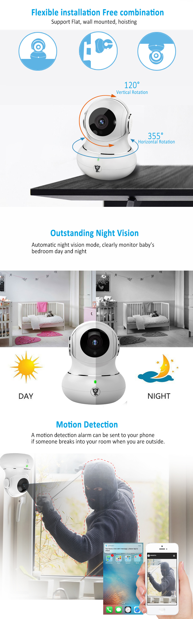 2018 New Private Model 3D View 720P HD Pan Tilt Two Way Audio Smart Home  IP Camera Wireless With Smart App