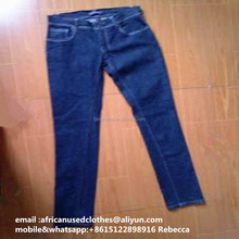 used clothing lots/used clothing/ wholesale used clothing iron blue lady skin jean pants Neutral beauty