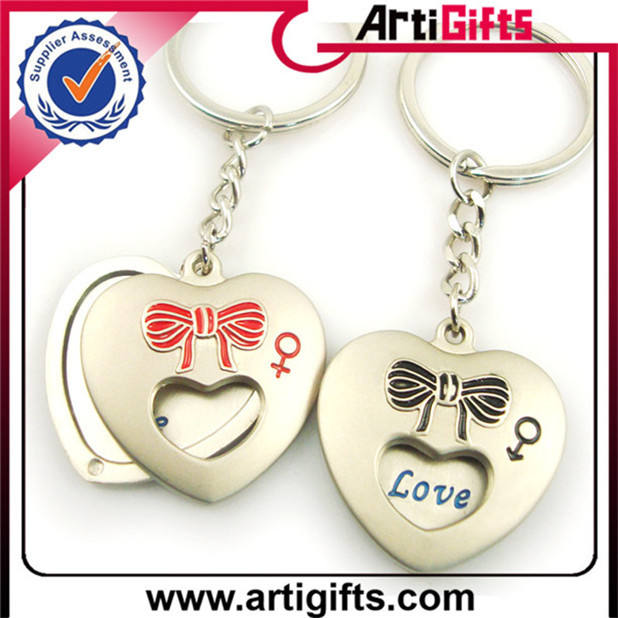 Antique high quality fashion lovely heart shape keyring keychains promotion