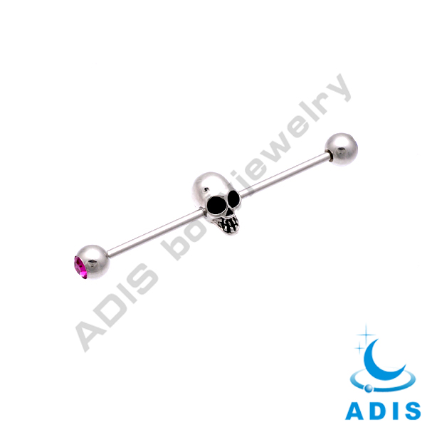 Stainless steel jeweled industrial barbell with skull head wholesale