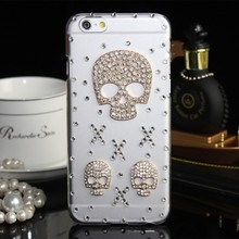 Luxury Fashion Skull Design Rhinestone Crystal Cover for apple iphone 6 6 plus