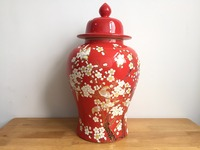 2016 hot sale red crackled ceramic rice jar storage jar