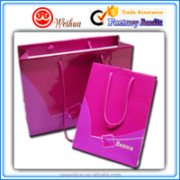 Accept custom made glossy pink luxury Paper Shopping Bags, Paper gift bags