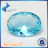 Factory price for oval shape blue color large glass gems clear