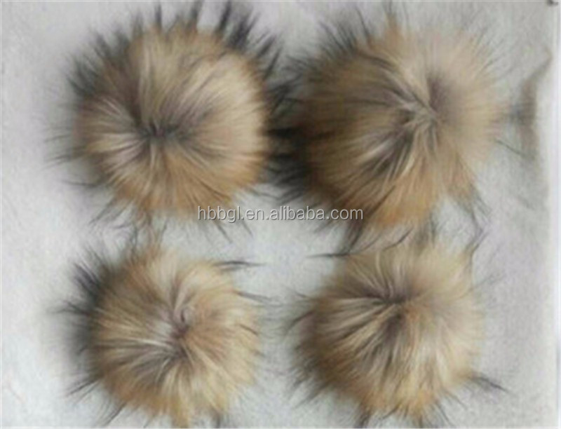 Factory online fur pompom for hats synthetic raccoon fur pom poms faux fur key ring