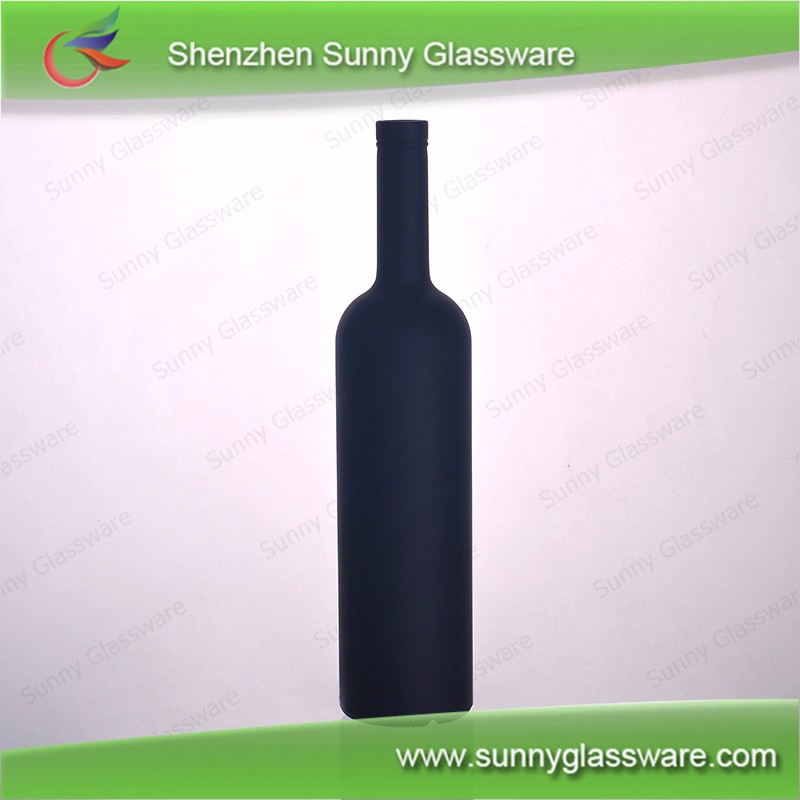 700ml black frosted glass wine bottle