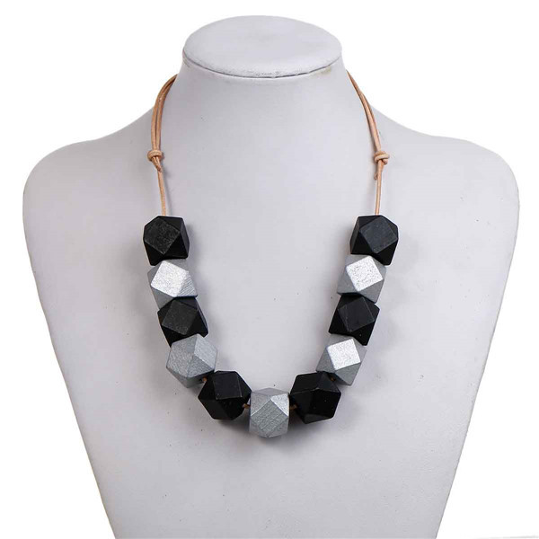 New Fashion Leatheroid Statement Necklace Round Polyhedron Black & Silver-gray Hinoki Wood Beads