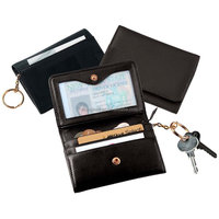 Snap button genuine leather coin purse wallet with key chain