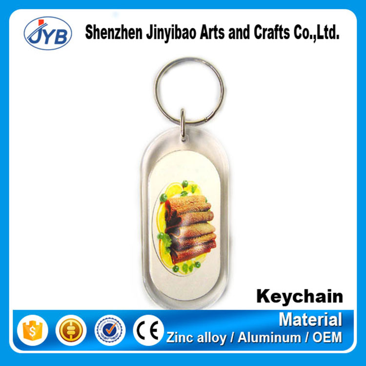custom printing logo picture long oval shape acrylic keyring