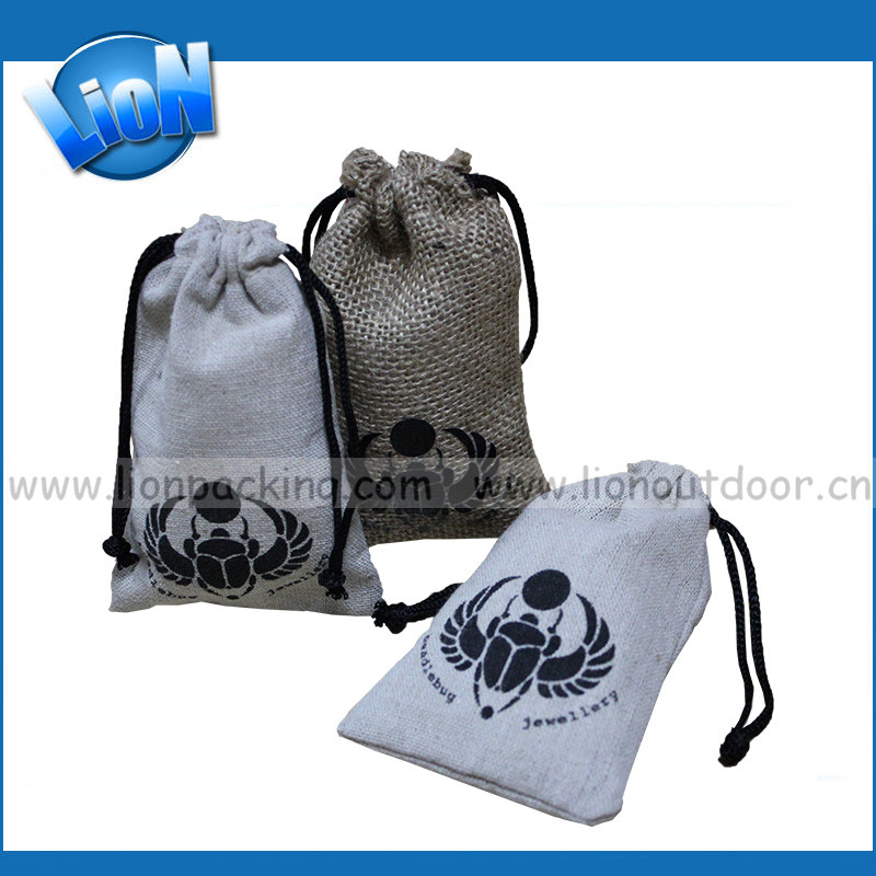 2016 new fashion mini Giveout pull string Linen fabric beans feeds Pouch gift bag