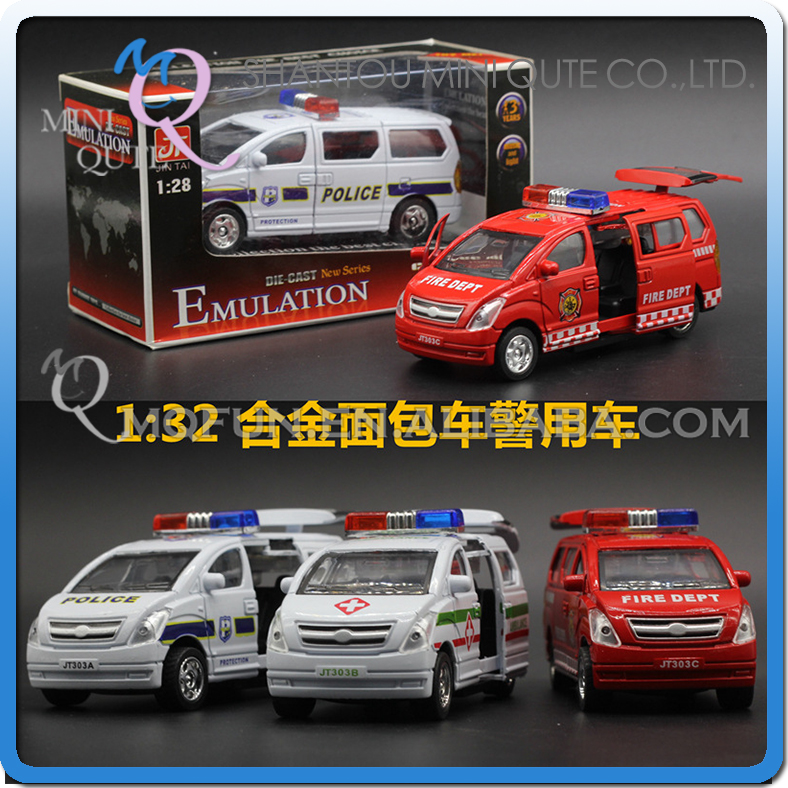 Mini Qute 1:32 kids Die Cast pull back alloy police van vehicle diecast model car electronic educational toy NO.MQ 303