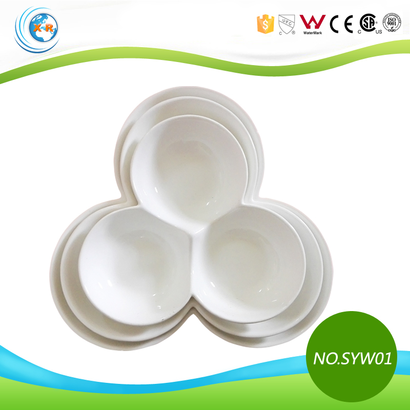 TC-SYW01 White Ceramic Three Divided Plate for Banquet