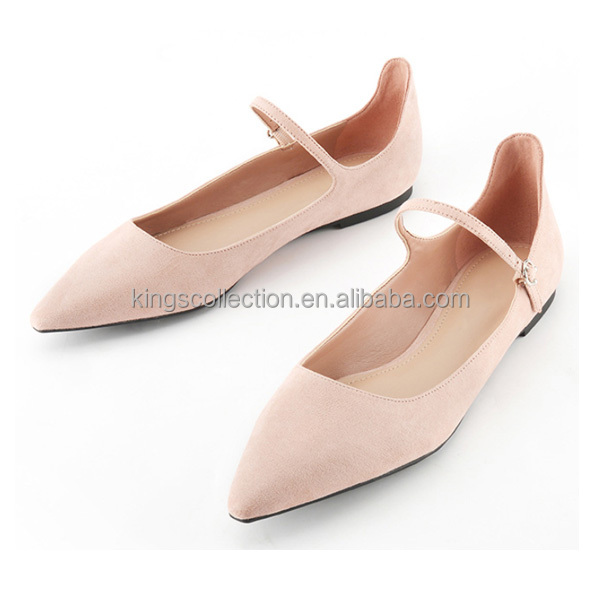 New style flat shoes ladies work fashion pink color Velvet with clip shoes