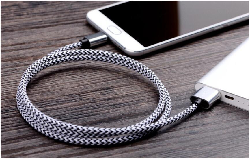 1m 2m 3m Fabric Nylon Braid Micro USB Cable Lead Unbroken Metal Connector charger Cord For Samsung