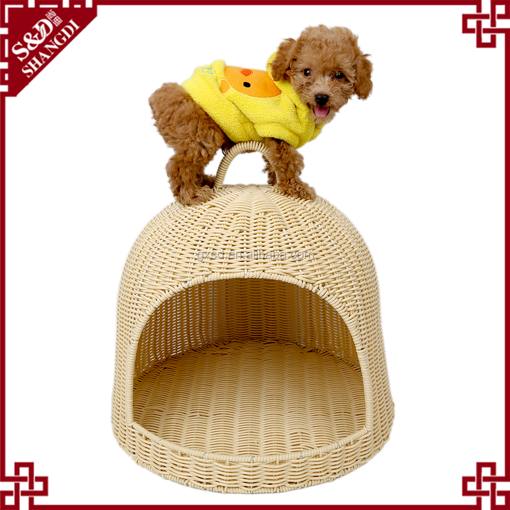 Wholesales factory washable PE rattan plastic pet dog cage for cat and dog