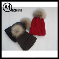 Morewin amazon supplier custom winter warm beanie hat knit hat with a fur ball