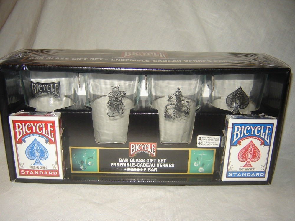 Bicycle Playing Cards Bar Glass Gift Set 4 Tall Glasses 2 Decks of Rider Cards