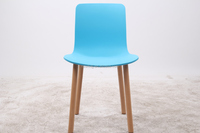 Blue Color Modern Plastic Dining Chair Cover With Wood Leg