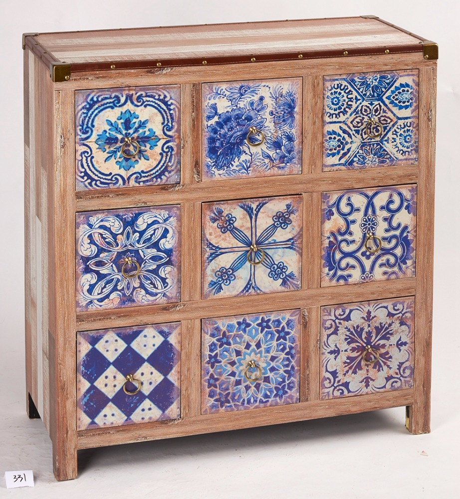 Rustic style restoring ancient ways of blue wooden storage adornment cabinet
