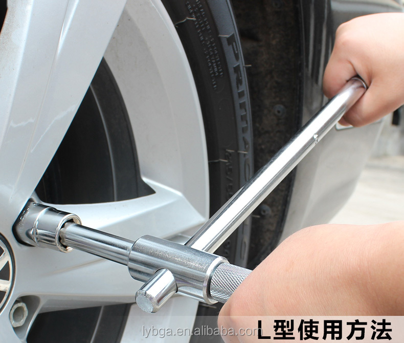 Auto cross socket wrench tire wrench tire change tool removable telescopic wrench