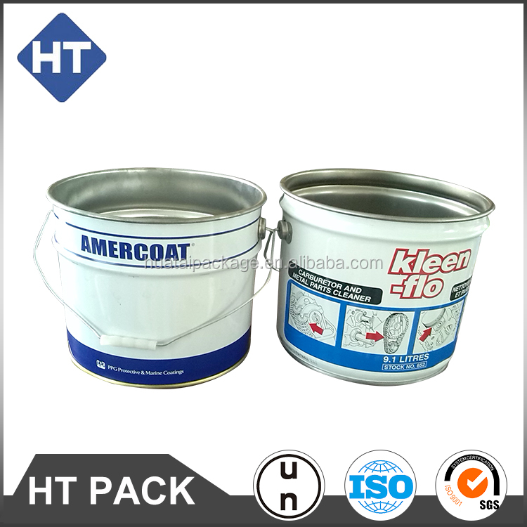 10L coloured oval metal tin paint bucket with lid and printing