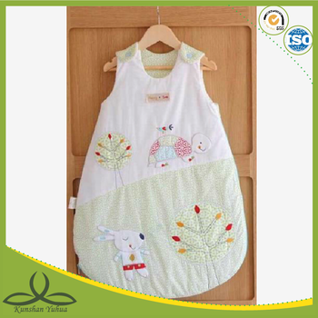 Baby sleeping bag with tortoise and rabbit appliqued