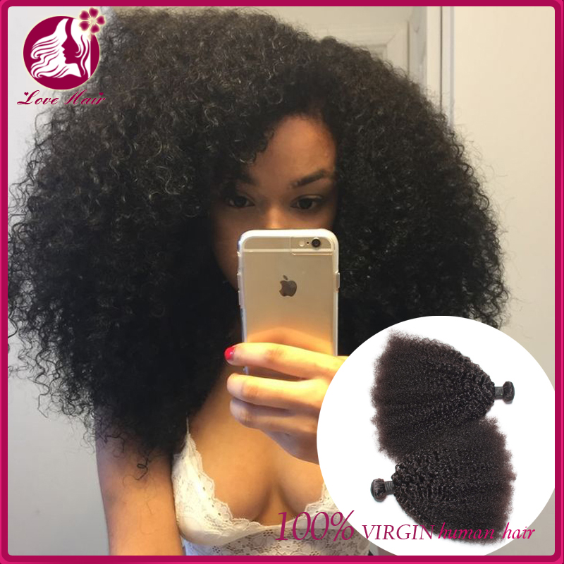 "Love 7a Brazilian Afro Virgin Hair 3pcs Brazilian Short Natural Black Kinky Curly Afro Curl Human Hair Weave 8""-32"""