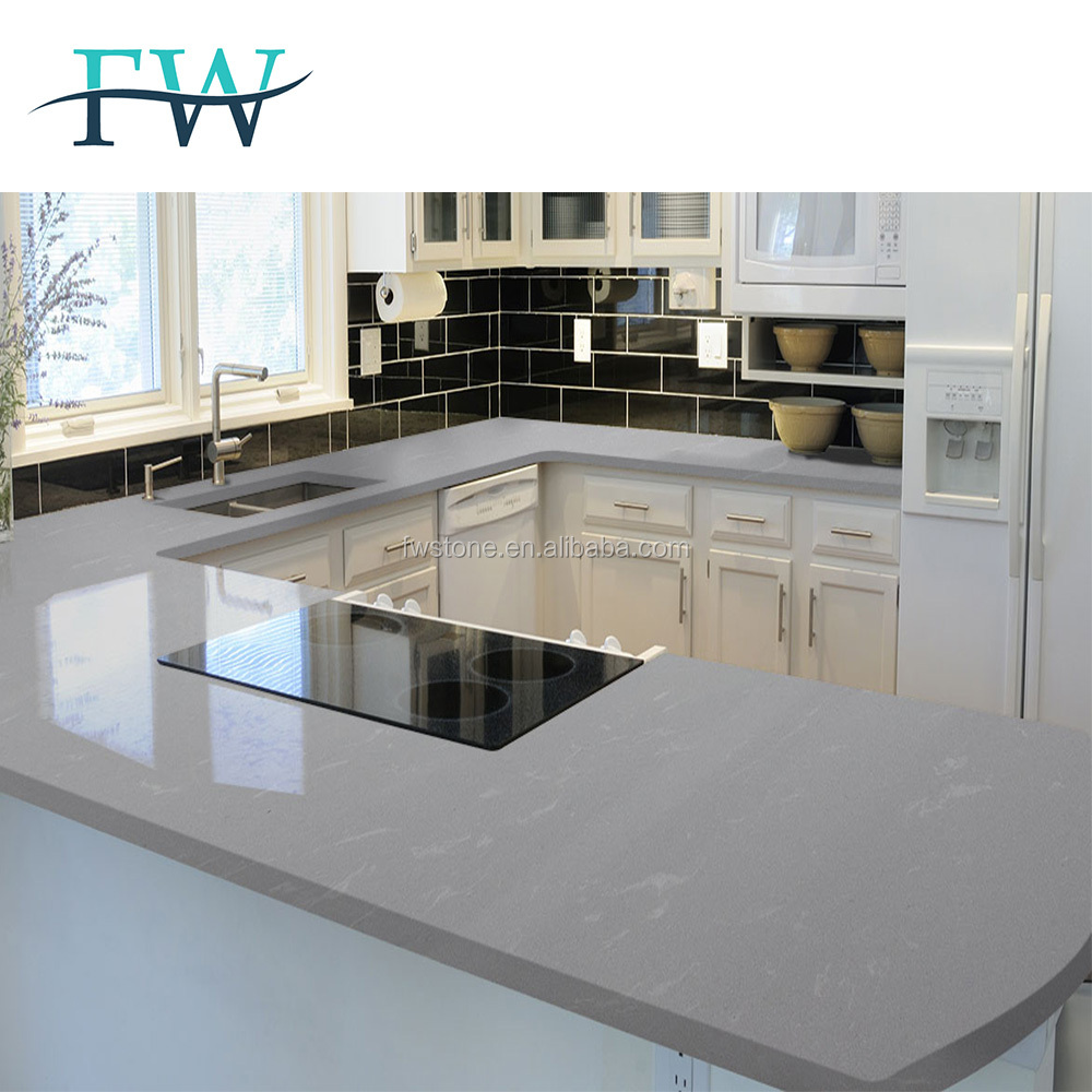 Fire proof flat/eased edge artificial quartz kitchen counter top