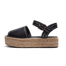 2015 women espadrilles leather ssnadal hemp rope sandals