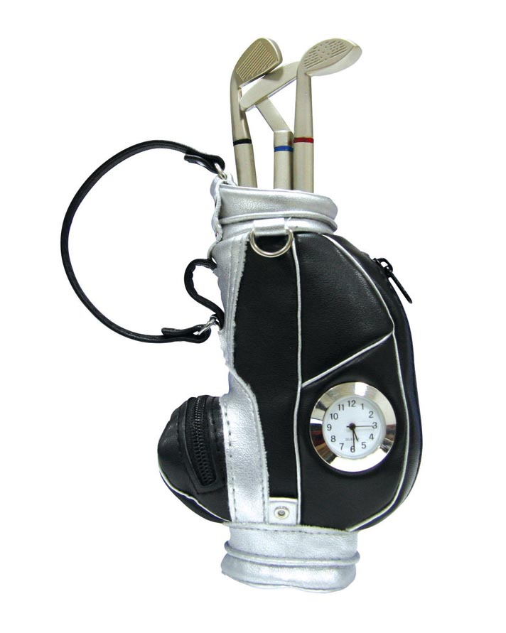 Promotional Gift Leather Golf Pen Holder/Bag With Clock Standing On Desk