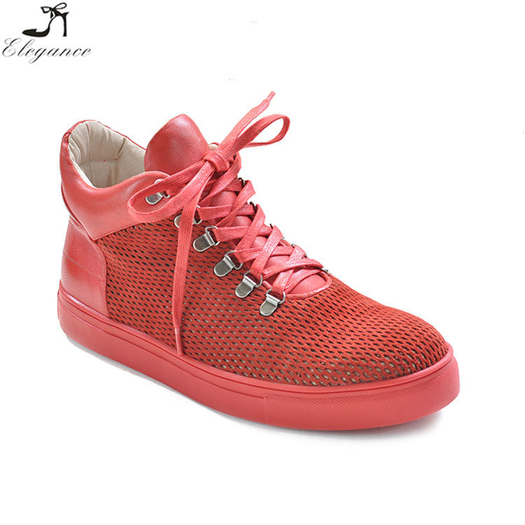 newest style red leather casual running shoes soft rubber sole lace-up mesh flat high top sneaker sports shoes for womens 2017