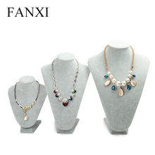 FANXI Alibaba China Gray Velvet Necklace/Pendant/Chain Display Mannequin Holder Stylish Carving Wood Jewelry Bust