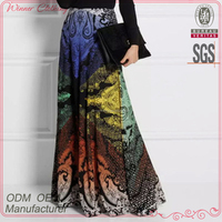 High quality printed silk ladies indian ethnic long skirt