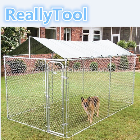 Large Dog Cage Chain Link Metal Dog Kennel Crate Outdoor Pet House 3mx3mx1.8m