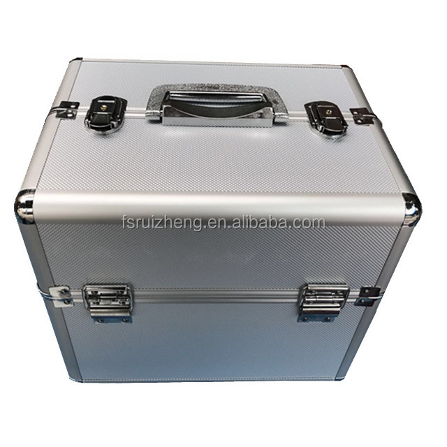 Professional Portable Silver Diamond ABS Artist Train Makeup Case