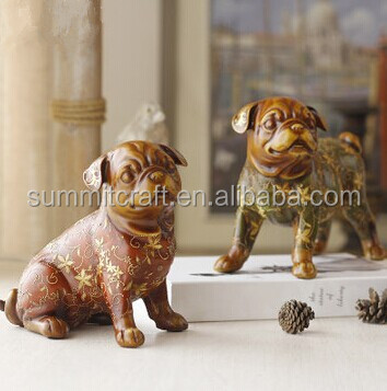 Flower hand carved resin animal figurines english bulldog
