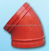 FM/UL ductile iron red grooved 45 degree elbow