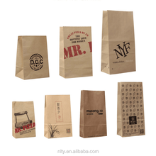 food bread packaging small block bottom brown kraft paper bag pouch