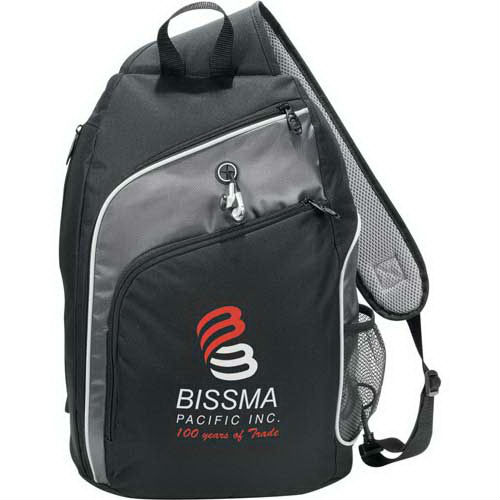 "Vortex compu-sling bag. Holds most 15"" laptops and comes with your printed or embroidered logo."