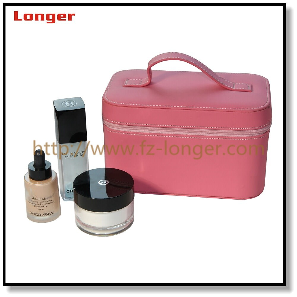 Fashionable customized faux leather travel portable makeup organizer
